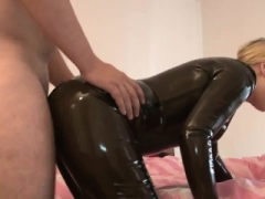 Hot latex Eager mom in sexy black latex dress