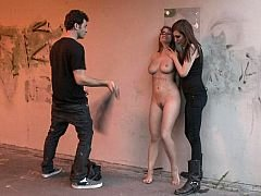 Natural titted gets punished under the bridge