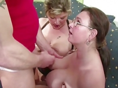 A pair of German Huge Tit MILFs suprise his Husband with three-way