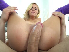 Tight Blonde Teen Rides Thick Cock Covered With Her Juices