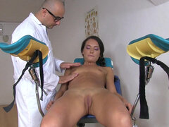 Doctor fucking Nataly Gold's both fuck holes during check up