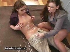 Horny teacher jerking her female part1