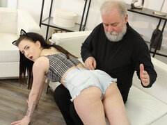 Older man finds a sexy kitty on the couch in his living room