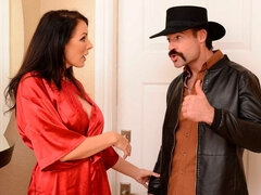 A horny cowboy fucks with a cheating big-boobed chick Reagan Foxx