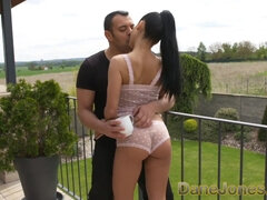 Hot Spanish Apolonia Lapiedra fucked standing till Dane cums in her mouth