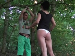 Fetish game in forest ends for boy with blowjob from tall GF