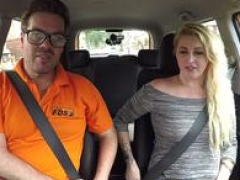 Fake Driving School British cheating blonde loula lou slurps up male orgasm