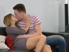 Blonde's tight butthole is being filled with white spunk