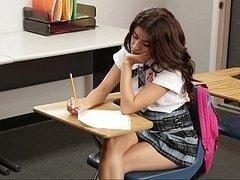 Sweet schoolgirl getting down and dirty her teacher