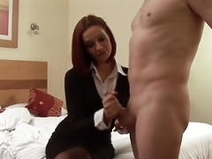 CFNM gal spanking her submissive lover