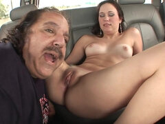 Old man gets his wrinkled cock blown by cute brunette
