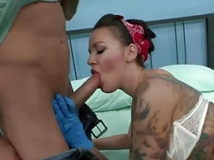 Sexy tattoo artist Emily Parker gets a huge ramrod surprise