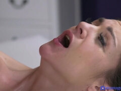 Brunette cutie opens pussy to get a missionary satisfaction