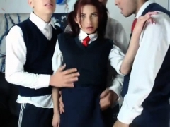 Redhead dilettante girl muff smashed for money in group sex