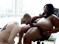 BBW Cotton Candi has Straight Man Submit to her Strap on