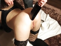 Hand plusballing and plus fucking his GFs booty with a sizeable bottle