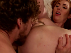 A girl with red hair is having her pussy ravaged and also licked