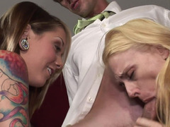 A blonde and moreover brunette show their enjoy towards a long hard pole