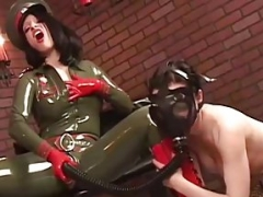 Latex RubberDoll In Military Gas Mask Test With Ruby Luster!