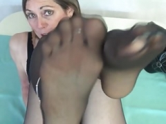 Aged lady in black pantyhosed feet makes my love pole rock hard