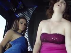 Classy CFNM party girls facialized by voyeur