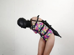 Rachel Adams swimsuit bondage leather hood armbinder hogtied