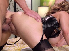 Leather looks amazing on double teamed soccer mom Julia Ann