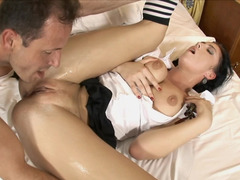 A college chick that loves cum cannon is feeling one with her feet on the bed