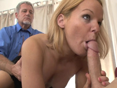 A blonde that loves hard fuck poles is fucked by a father and plus son