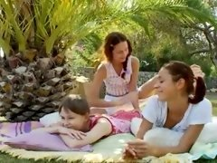 Three nymphs admiring twat rubbing together in the garden and also jacking off hard