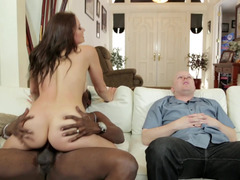 A black fella gets down and dirty a hot wife in front of her cuckold husband