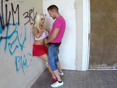 Boobalicious blonde is getting her pussy penetrated while out in public