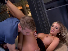 A hot and furthermore kinky cop gets out of her uniform and furthermore then she gets fucked