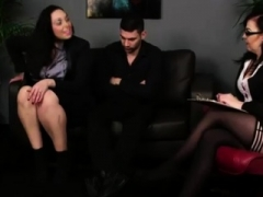 Shy CFNM non-professional stripped by British female domination babes