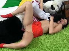 Excited panda bangs a attractive looking dark haired European darling
