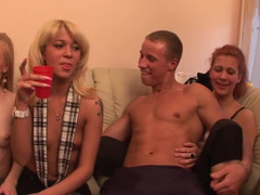 Babes take off their tops and then have some fun with the fellas