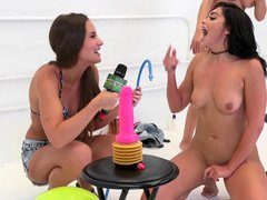 Three charming chicks compete in a dirty challenge with dildos
