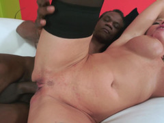 An grown-up black dude that loves snatch is banging a horny blonde granny