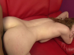 A big-breasted completely all natural pale girl is getting rammed in her pussy