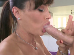 Porn pro mom in sexy black stockings makes love his big phallus