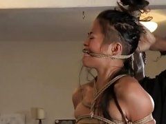 Asiatic sub pinioned up by black male dom in duo