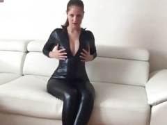 Exgirlfriend In Shiny Black Latex Spandex Cat Suit Fucked