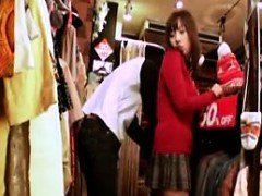 Far eastern babe is groped and dry humped in the clothing scene