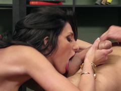 A brunette with love bubbles is getting her pussy penetrated deeply