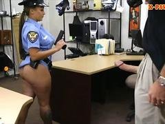 Busty latin police dame screwed hard by pawn keeper