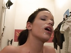 A pair of face shots for Hungarian brunette