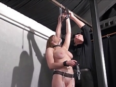 Blonde dependent Taylor Hearts boob torments and kinky bondage of