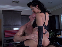Cuckold porno scene by incredible femdom goddess and moreover glabrous lover