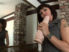 Large vibrator goes inside the wide pussy of mad bitch