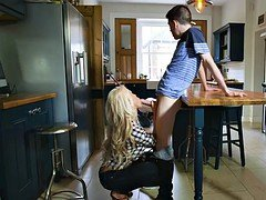 Youthful lad fucks his girlfriends blonde MILF stepmom